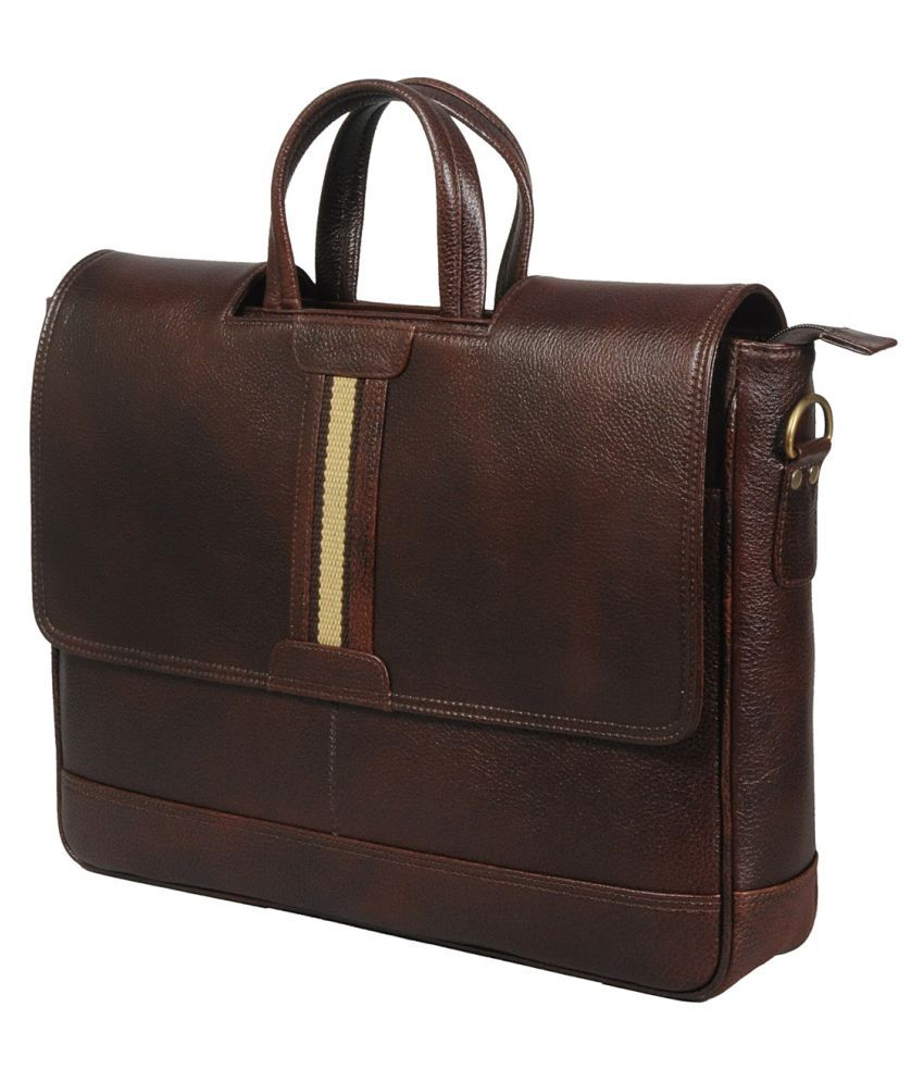 df21e066482a Brown Leather Office Bag - Buy Leather Bags   More... Brown Leather Office  Bag Online at Low Price - Snapdeal