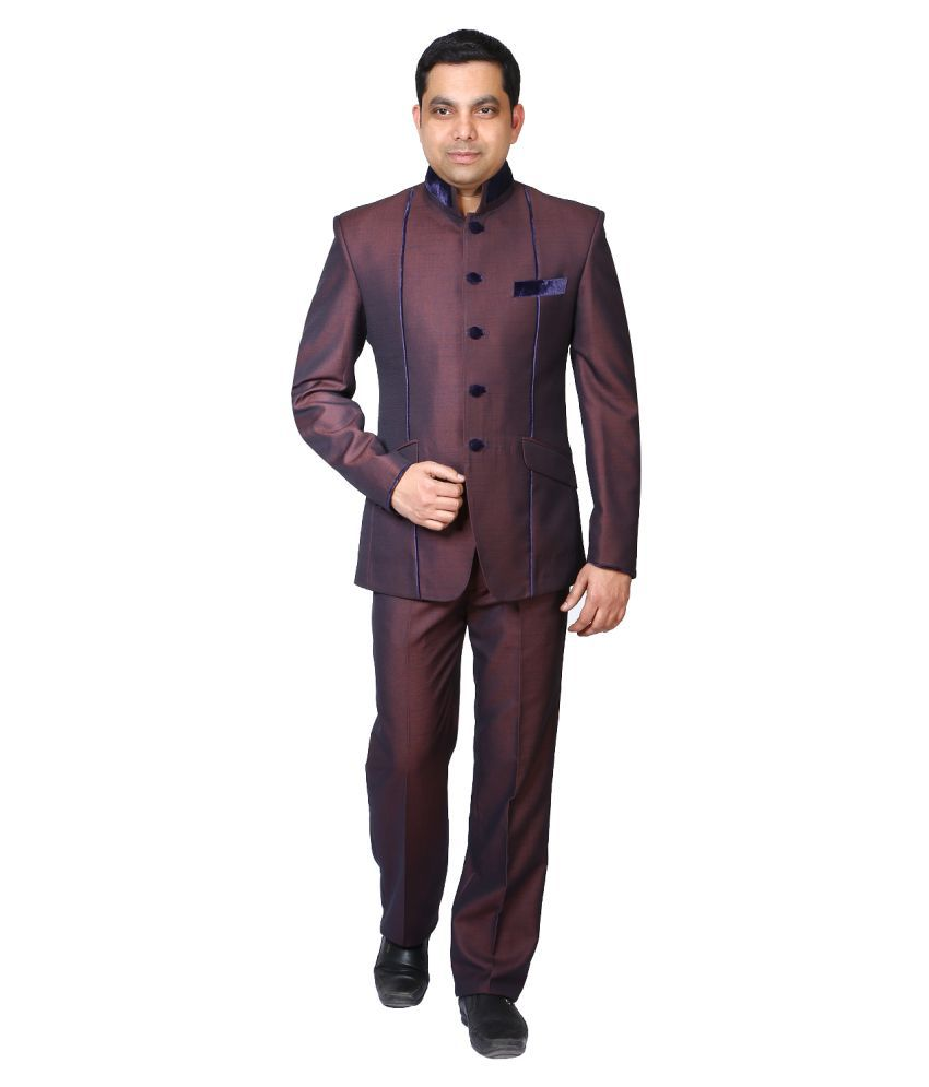 Bindals Maroon Solid Party 3 Piece Suits