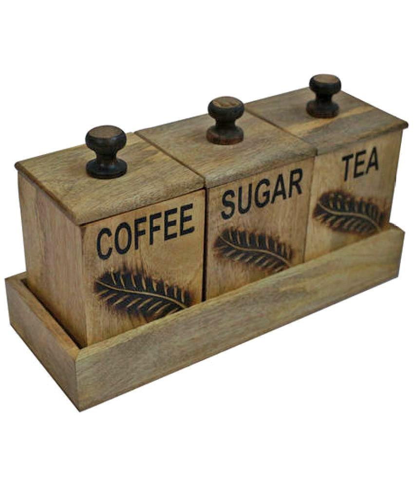 Alishba Wooden Tea Coffee Sugar Container Set Of 3