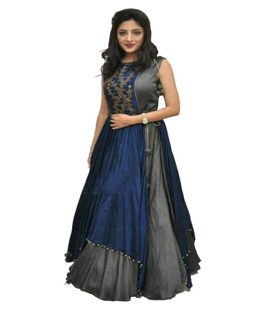 Shreenathji Enterprise Blue Silk Anarkali Semi-Stitched Suit