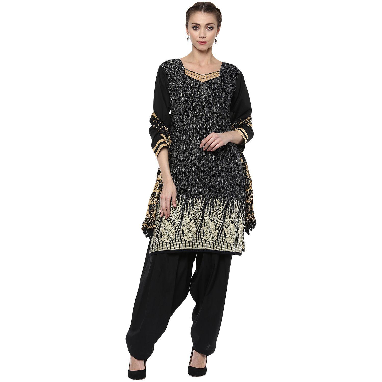 Aasha Ethnic Wear Black Cotton Straight Stitched Suit