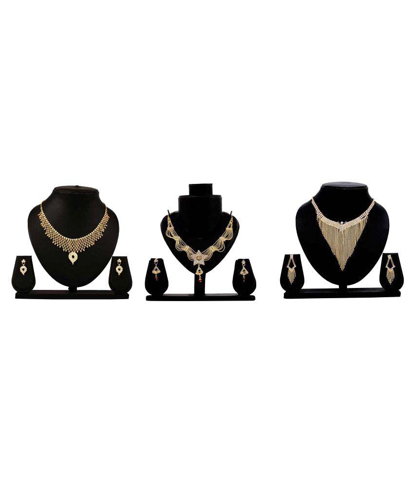 Bahucharaji Creation Presents Golden Color Alloy Set of 3 Piece Necklace Set.