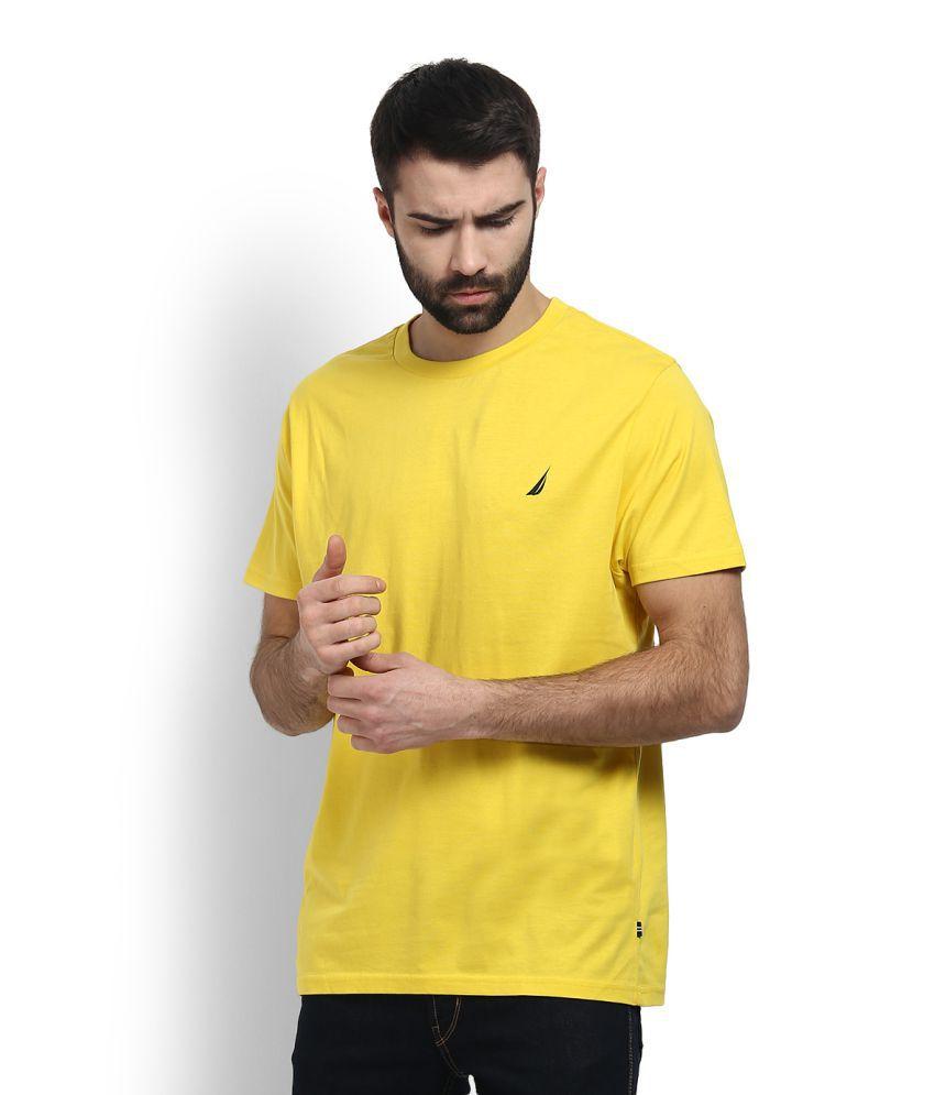 Nautica Yellow Round T-Shirt