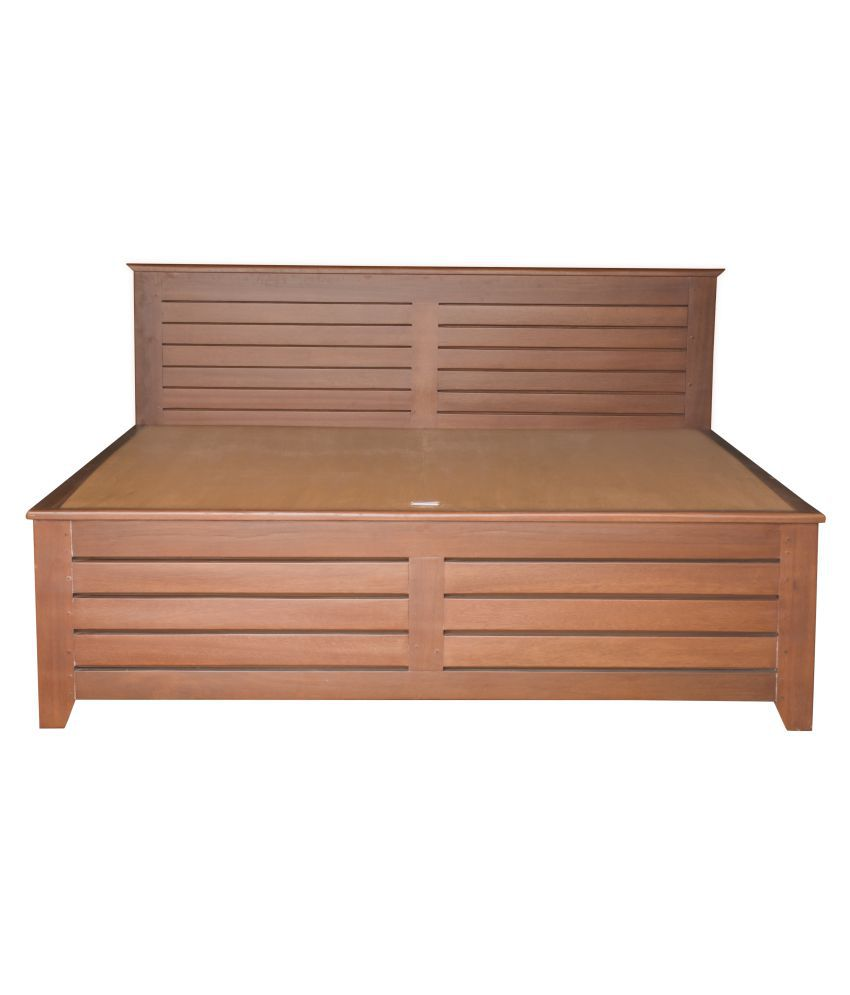 Solid Wood King Size Double Bed Teak Finish Buy Solid