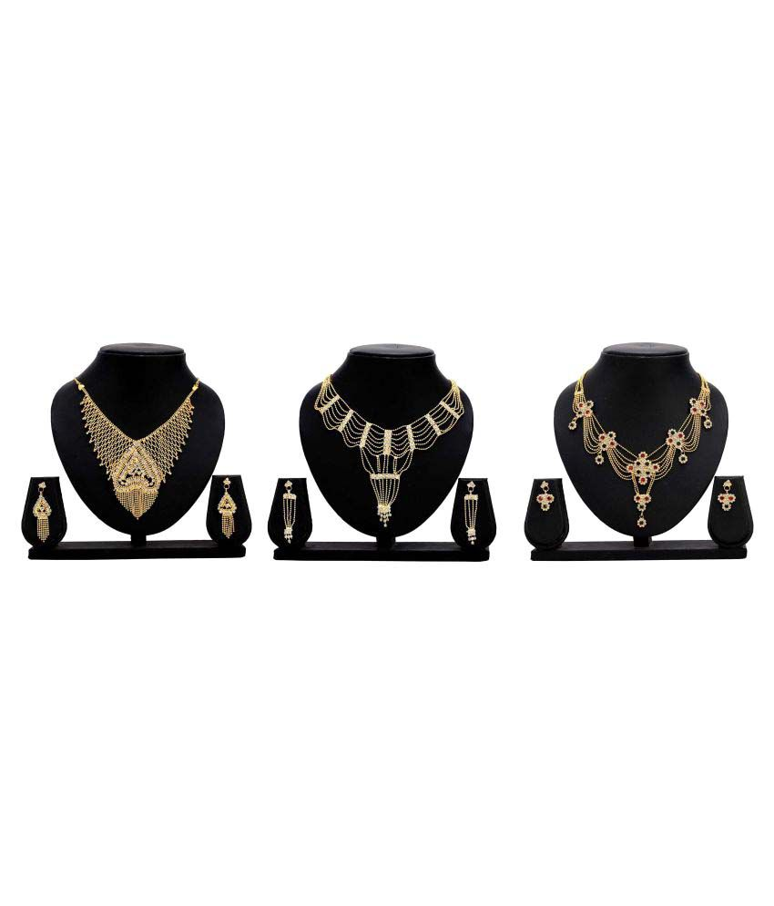Bahucharaji Creation Presents Golden Alloy Set of 3 Necklace Set Combo