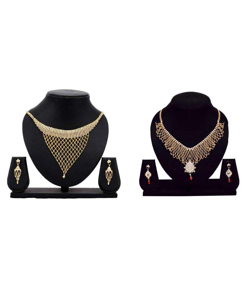Bahucharaji Creation Golden Alloy Necklace Set Combo - Set of 2