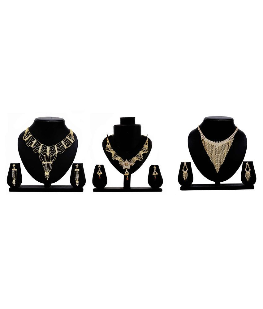 Bahucharaji Creation Presents Golden Alloy Set of 3 Piece Necklace Set.