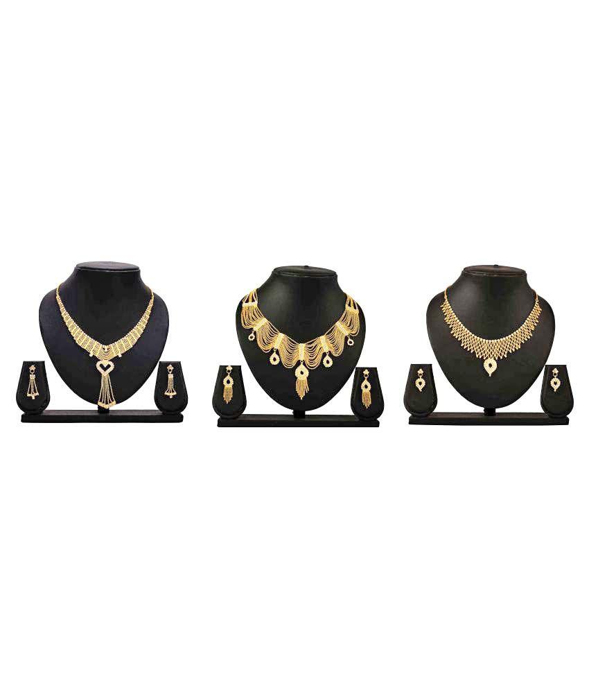 Bahucharaji Creation Golden Alloy Set of 3 Necklace Set Combo