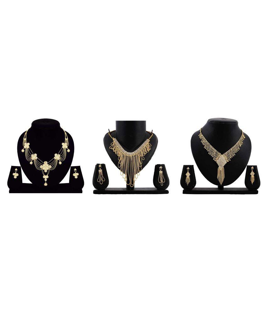 Bahucharaji Creation Presents Golden Colour Alloy Set of 3 Pieces Necklace Set