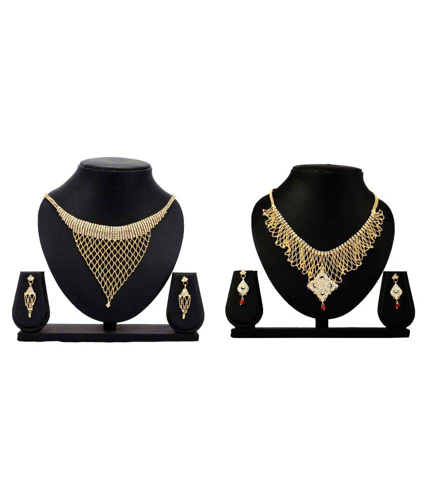 Bahucharaji Creation Golden Alloy Necklack Set Combo