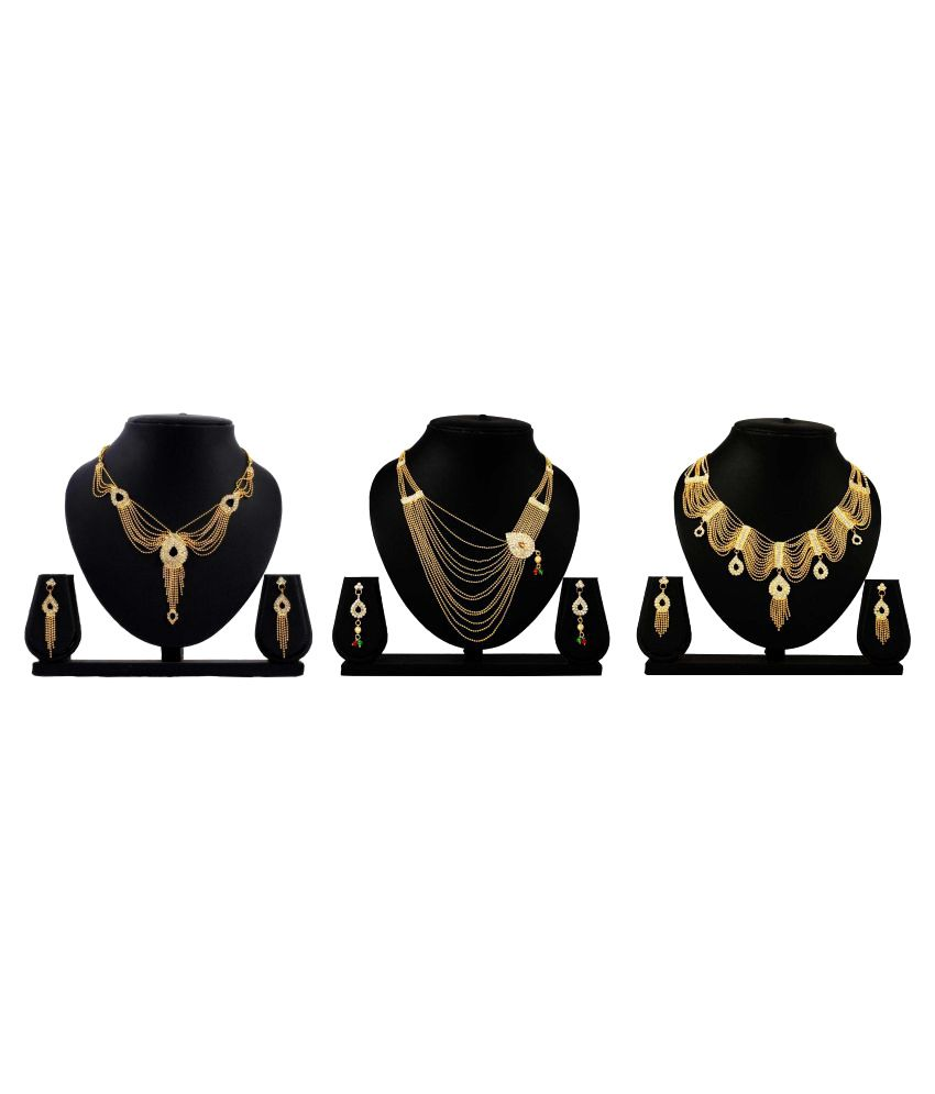 Bahucharaji Creation Golden Alloy Neckless Set Combo - Set of 3