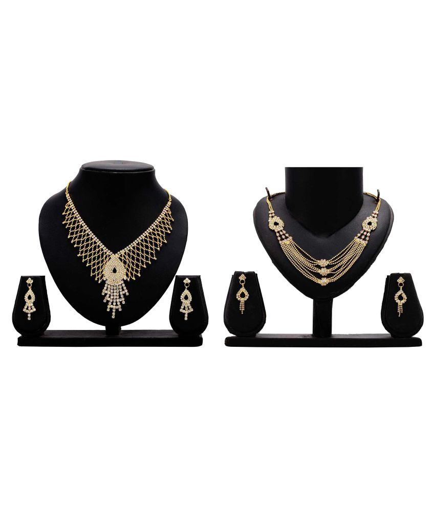 Bahucharaji Creation Presents Golden Alloy Set Of 2 Necklace Set Combo