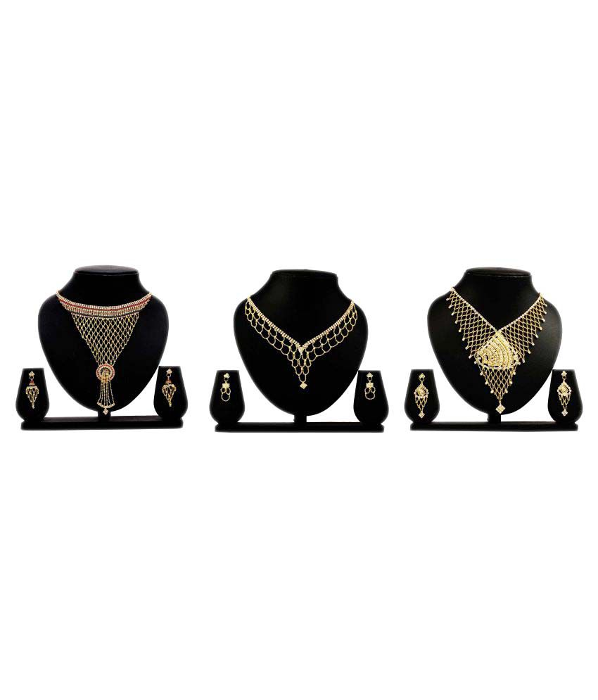 Bahucharaji Creation Presents Golden Alloy Set of 3 Pieces Necklace Set