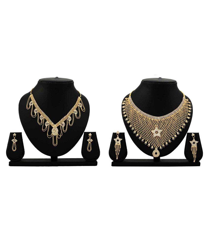 Bahucharaji Creation Presents Golden Alloy Combo Necklace Set