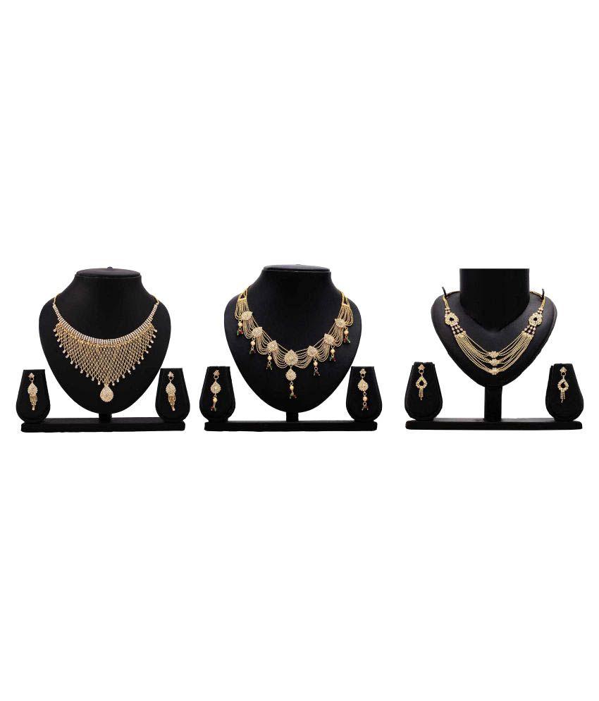 Bahucharaji Creation Golden Alloy Necklace Set Combo
