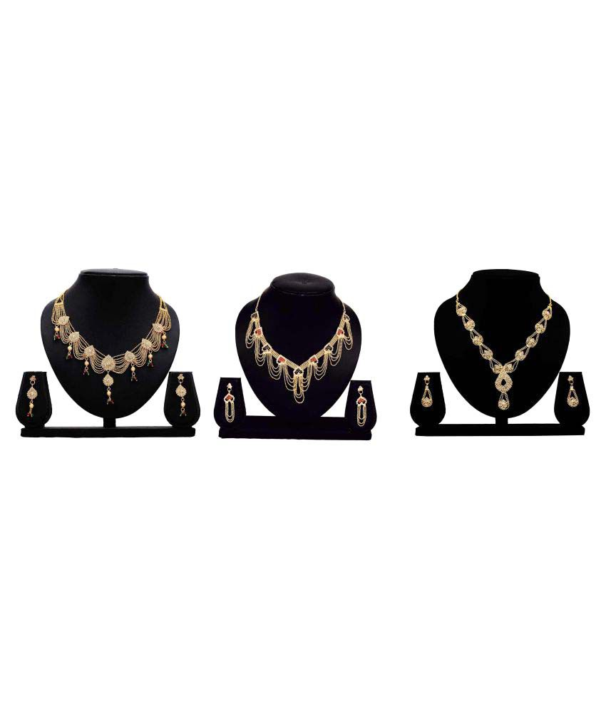 Bahucharaji Creation Golden Alloy Necklace Set Combo - Set of 3