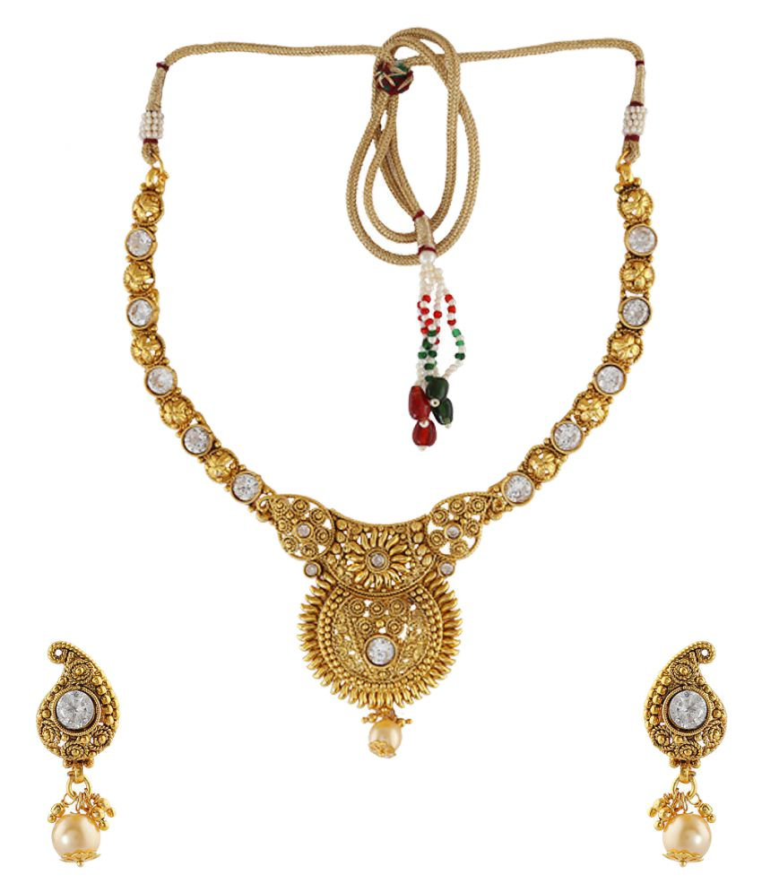 Anuradha Art Golden Polish Studded With White Colour Stones Designer Traditional Necklace Set For Women/Girls