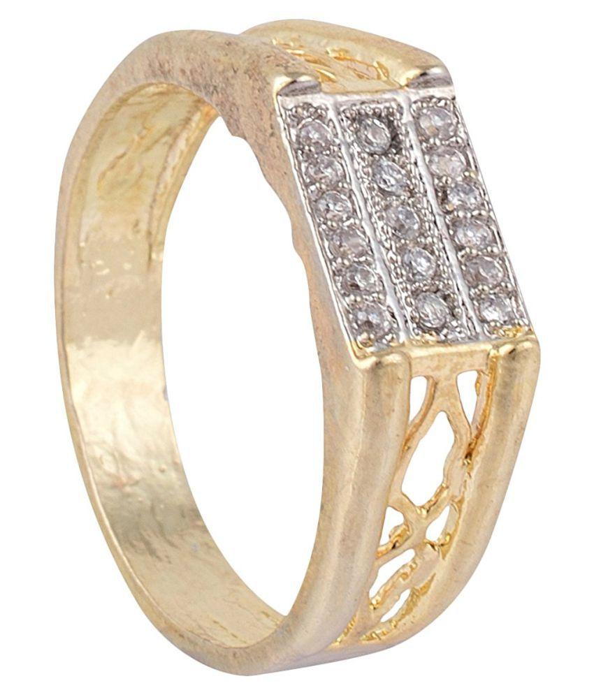 63c9303225d4b SKN™ Gold Plated American Diamond Alloy Ring for Men, Boys