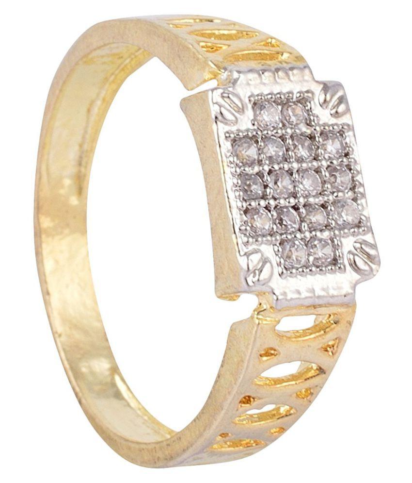 SKN™ Gold Plated American Diamond Alloy Ring for Men, Boys