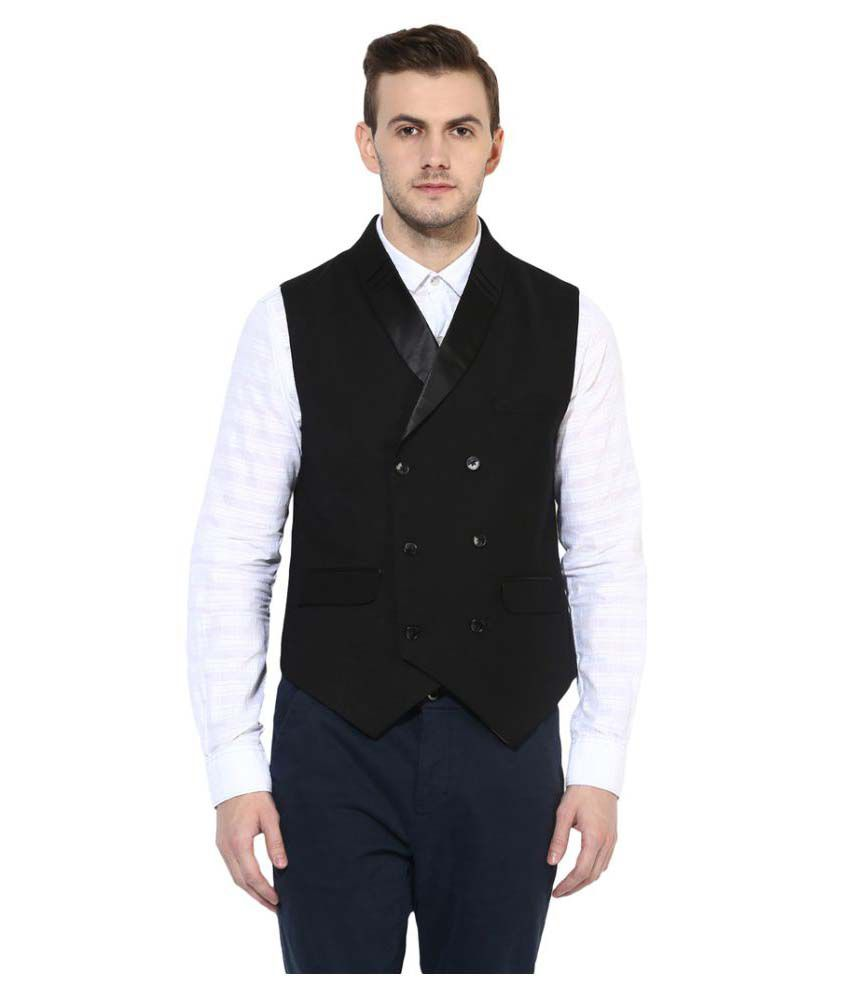 Turtle Black Solid Party Waistcoats