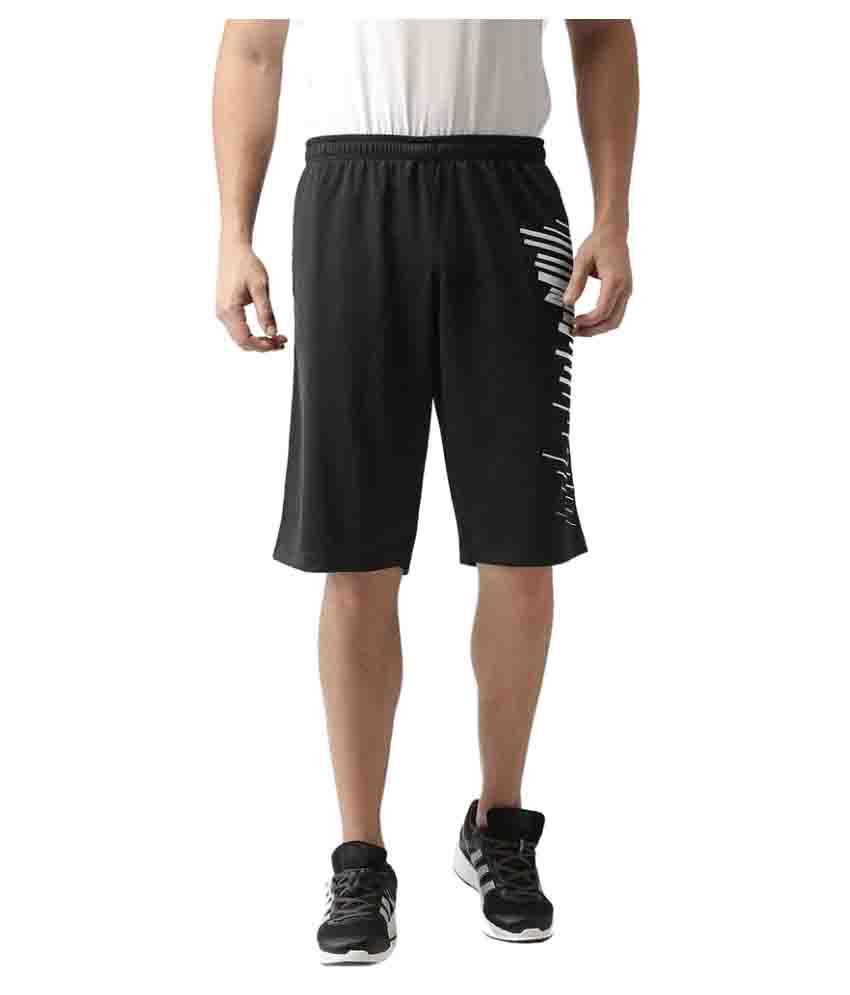 2GO Bold Black Printed Basket Ball Shorts