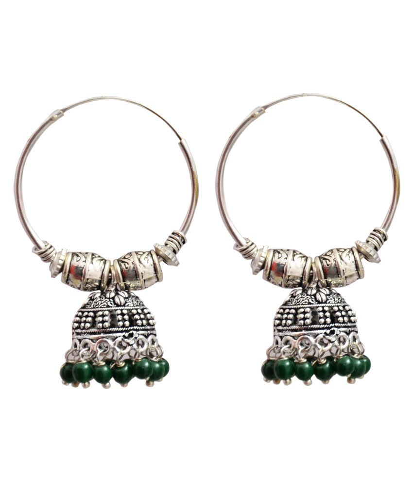Oxidized Silver Green Pearl Hoop Ring Jhumka Earring Small