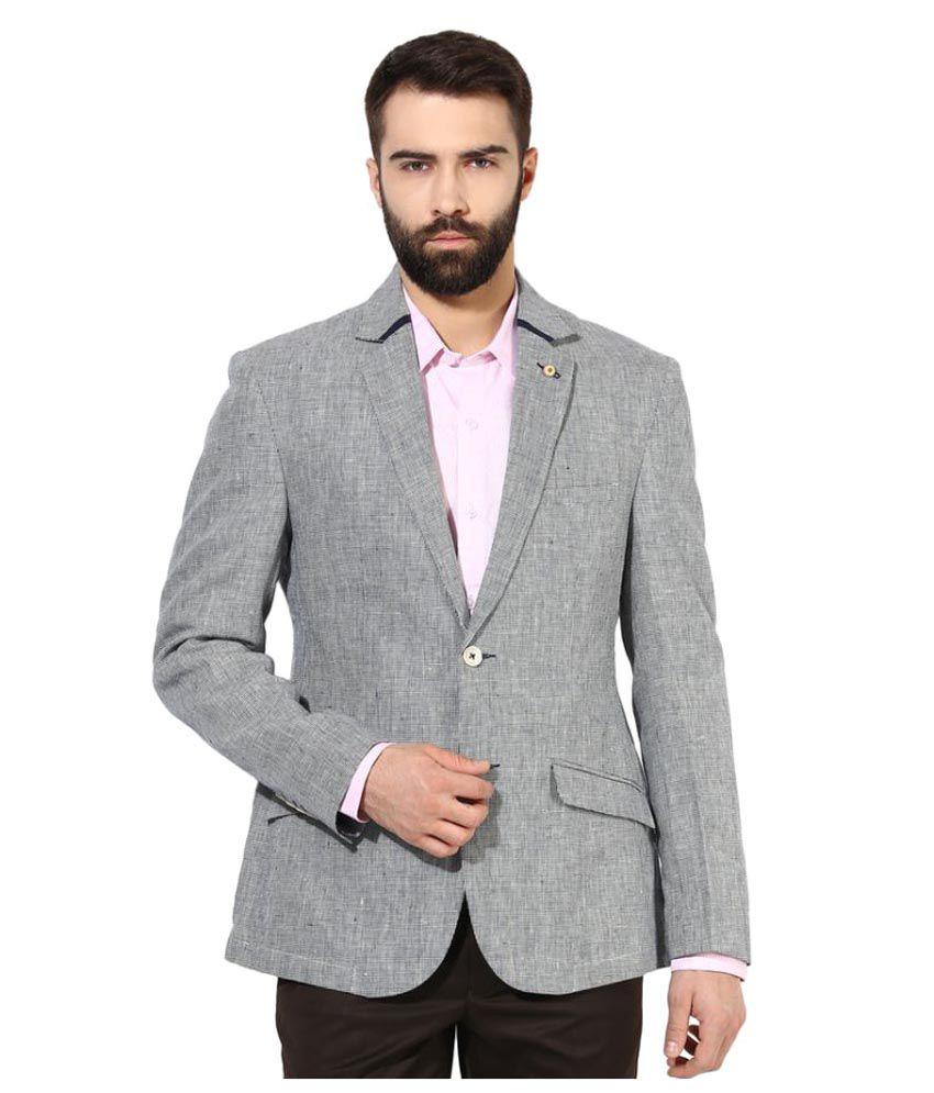Turtle Grey Self Design Formal Blazers