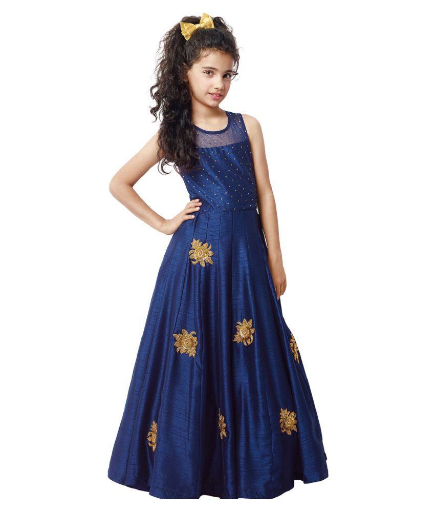 83f7fb0343 Designer Blue Kids Gown dress - Buy Designer Blue Kids Gown dress Online at Low  Price - Snapdeal