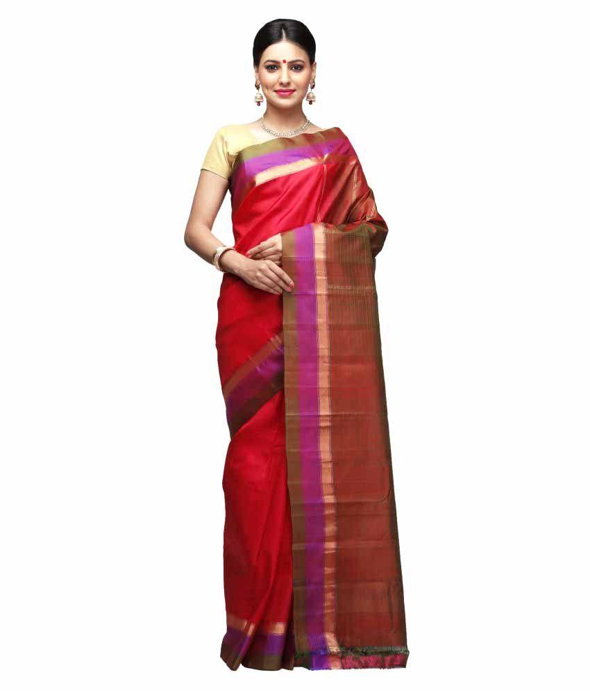 India Sari House Red Silk Saree