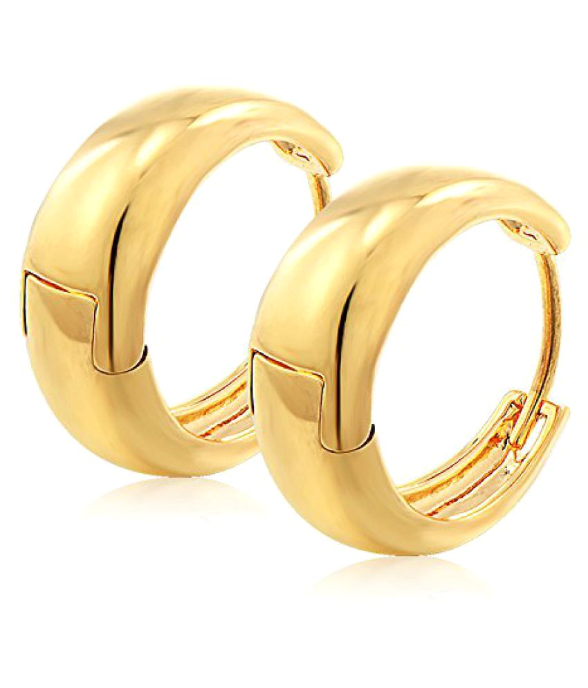 Kaju Bali's Smooth finish 24K Gold Salman khan Style Hoop/Huggie HQ Earrings Studs