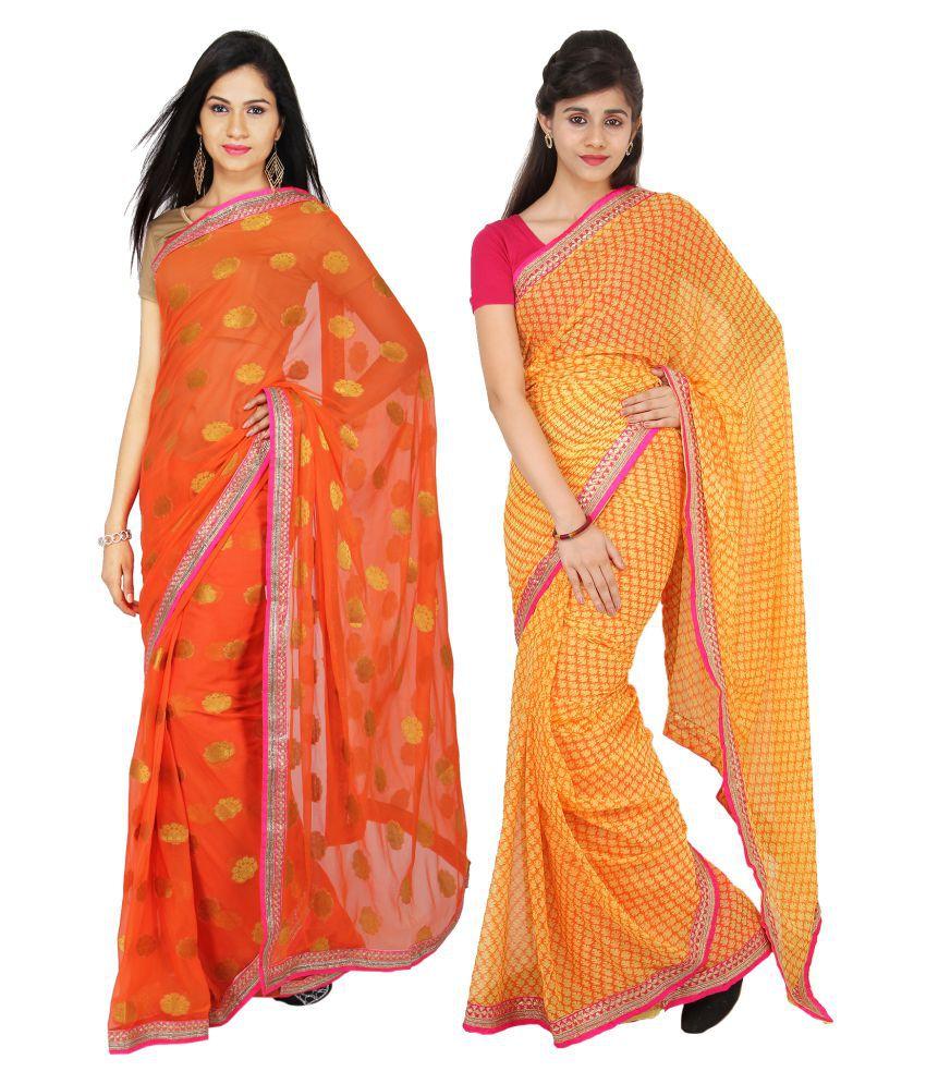 DesignerHaat Multicoloured Chiffon Saree Combos