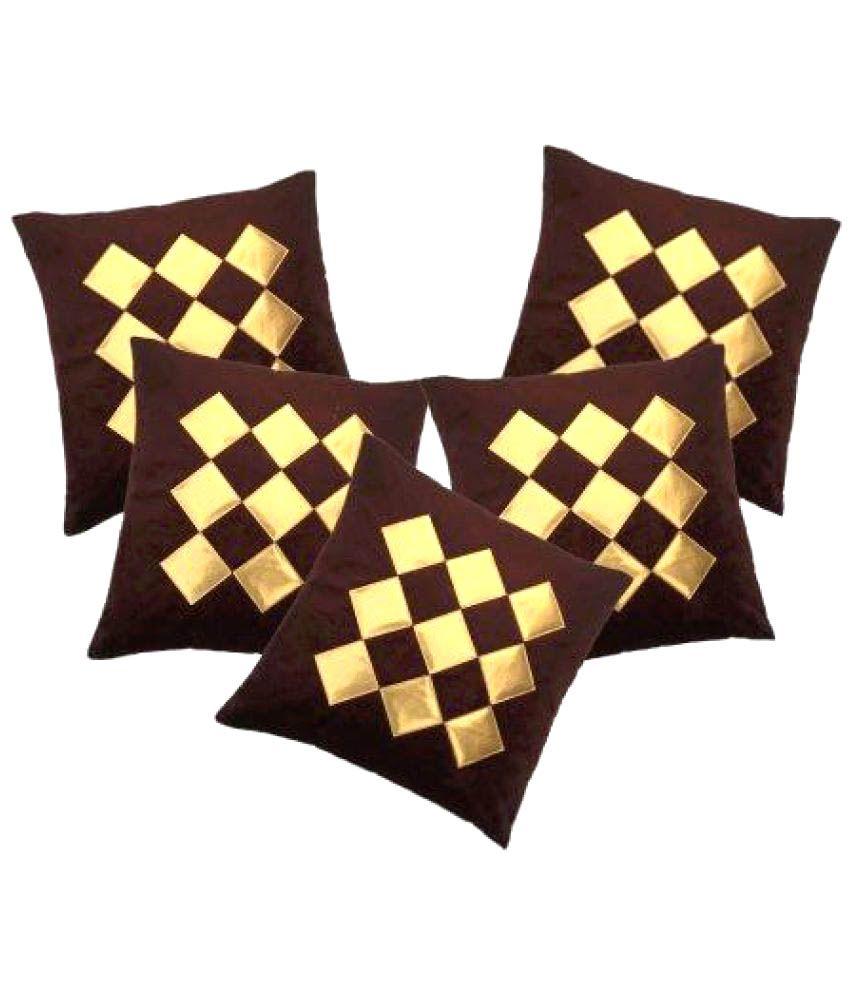 Décor India Set of 5 Velvet Cushion Covers 40X40 cm (16X16)
