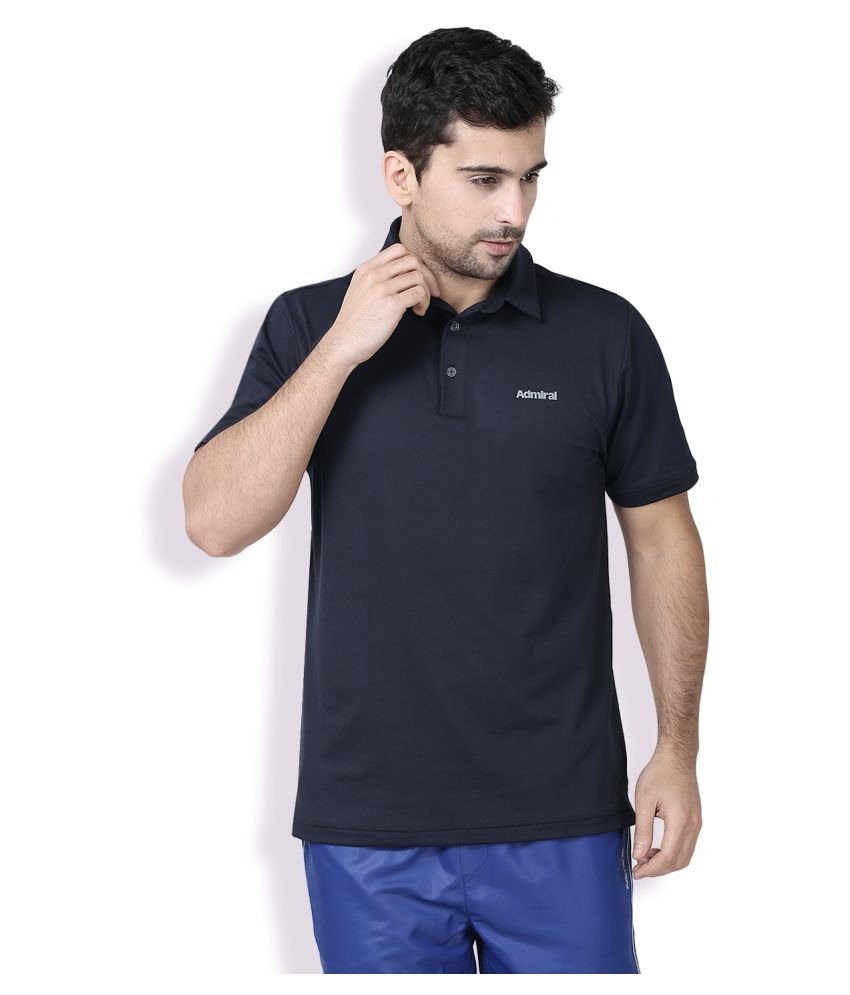 Admiral Blue Polyester Polo T-Shirt Single Pack
