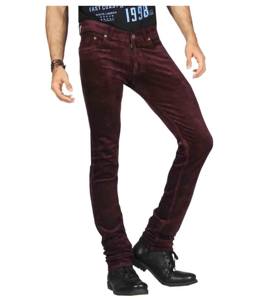 DFU Jeans Maroon Slim Jeans
