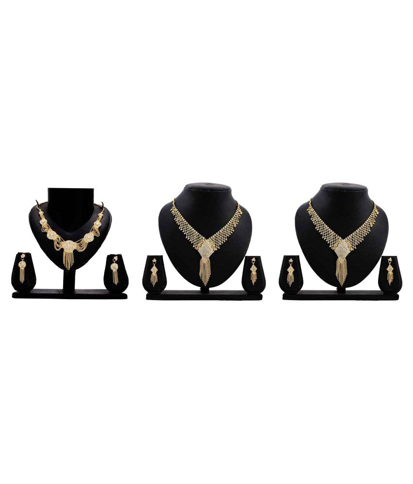 Bahucharaji Creation Golden Alloy Combo of 3 Necklace Set