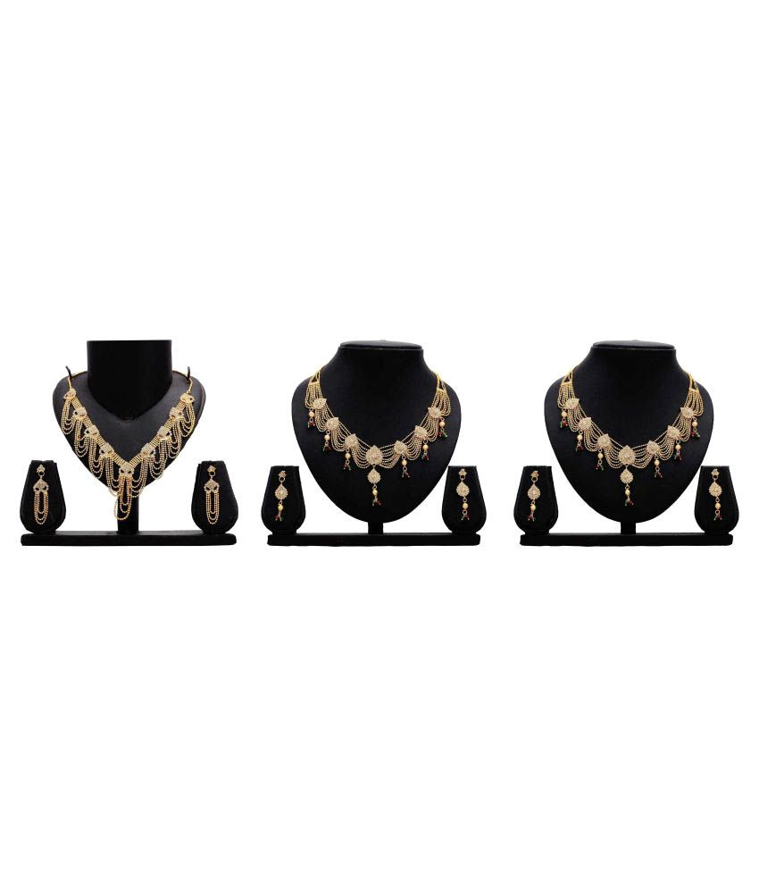 Dealseven Fashion Golden Alloy Set of 3 Necklace Set