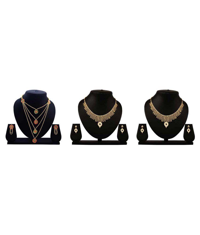 Dealseven Fashion Multi Coloured Alloy Necklace Set- Set of 3