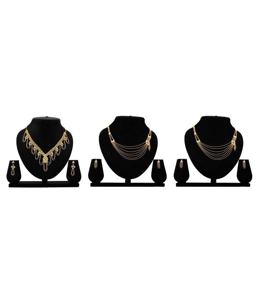Dealseven Fashion Presents Golden Color Alloy Set of 3 Necklace Set