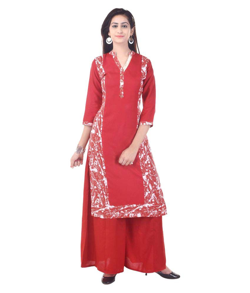 Priya Collection Red Cotton Straight Stitched Suit
