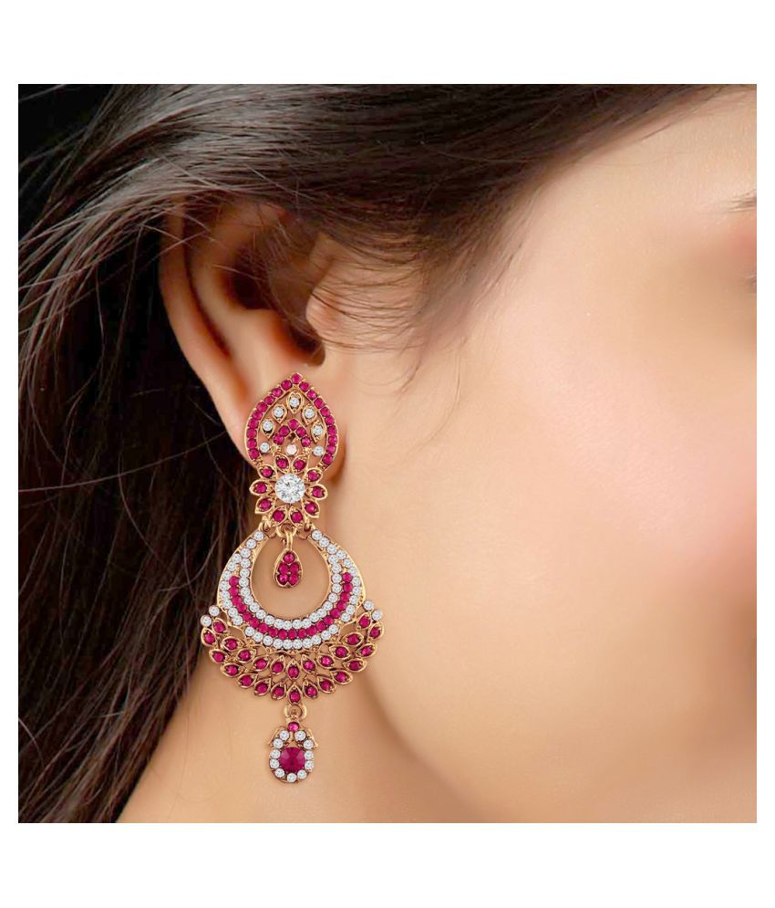 I Jewels Gold Plated Traditional Designer Earrings For Women E2311q Pink