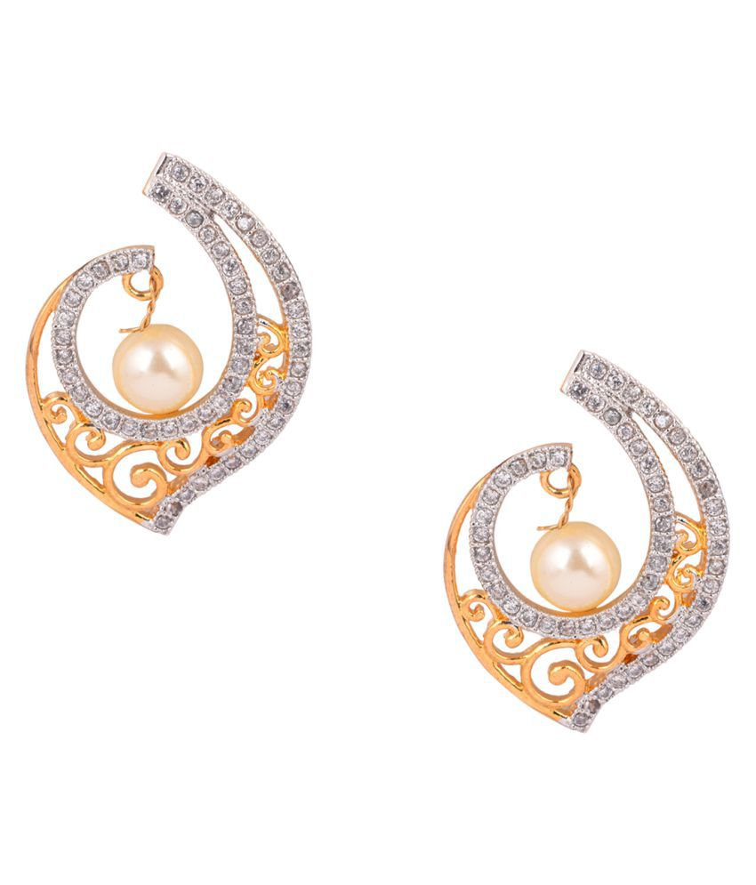 Sparsh Designer American Diamond Studded with pearl in centre in gold plated colour  shunkh shape dangle Earring