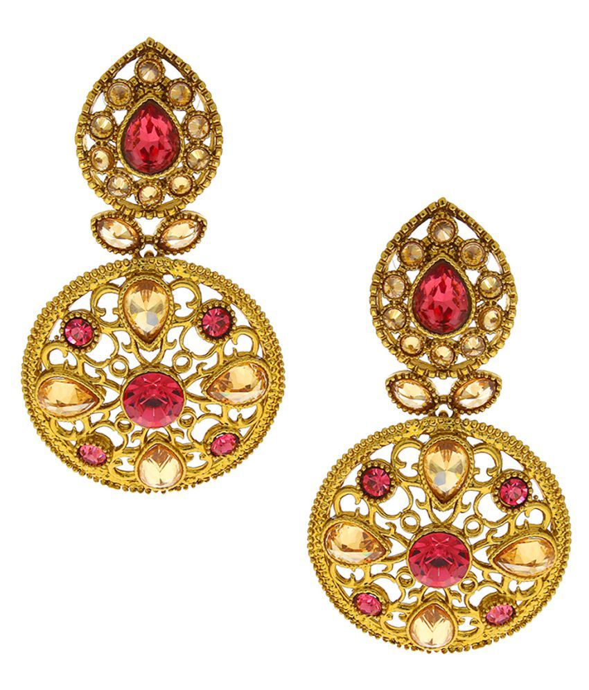 Anuradha Art Golden Colour Styled With Studded Shimmering Pink Colour Stone Traditional Earrings For Women/Girls