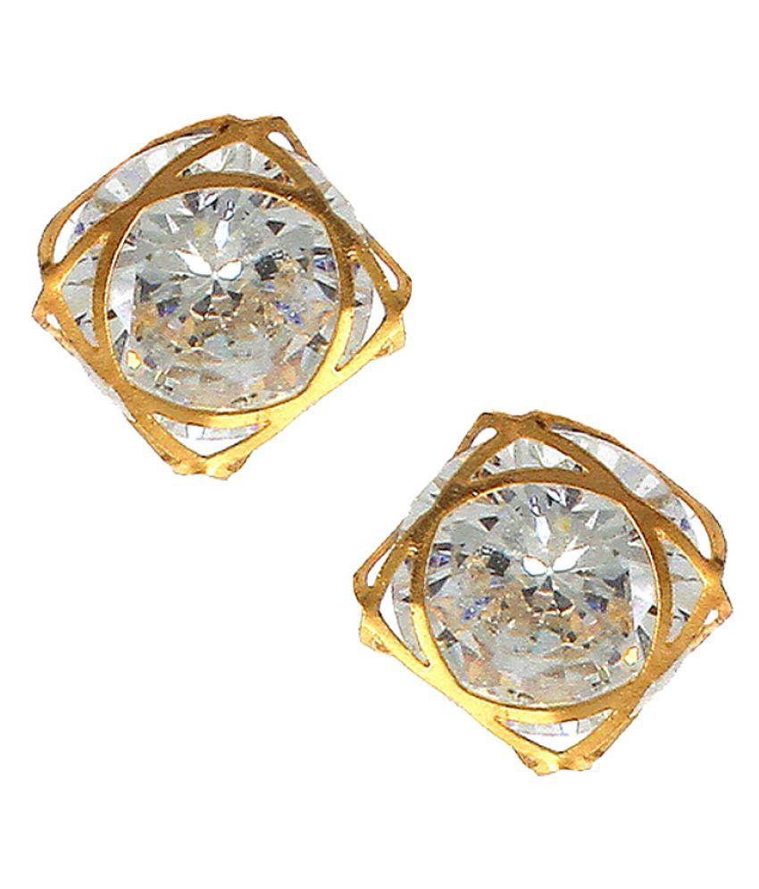 Anuradha Art Golden Finish White Colour Studded Shimmering Stone Studs Styled Wonderful Earrings For Women/Girls