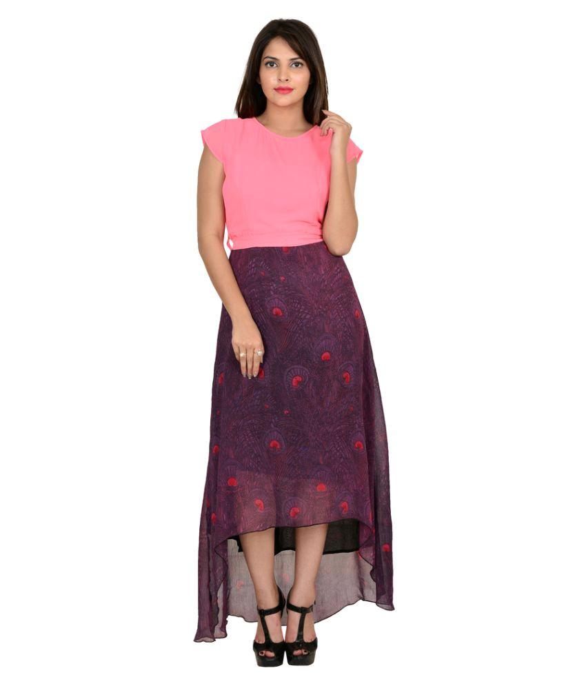 GOODWILL Georgette Multi Color Asymmetric dress