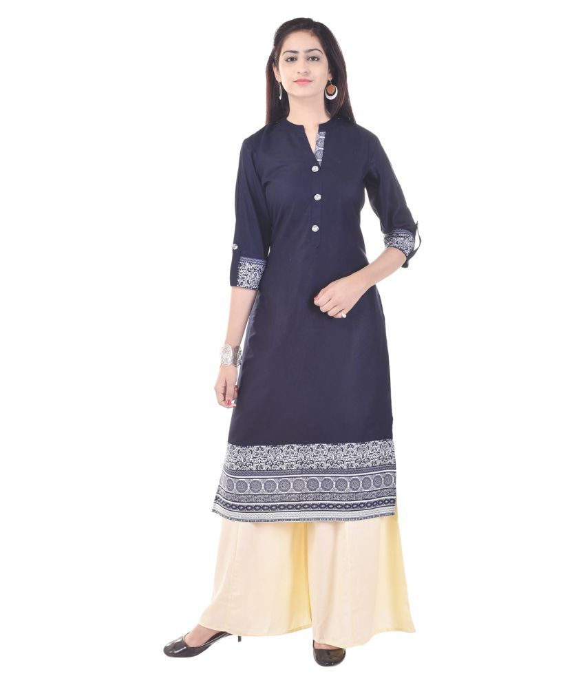 Priya Collection Blue Cotton Straight Stitched Suit