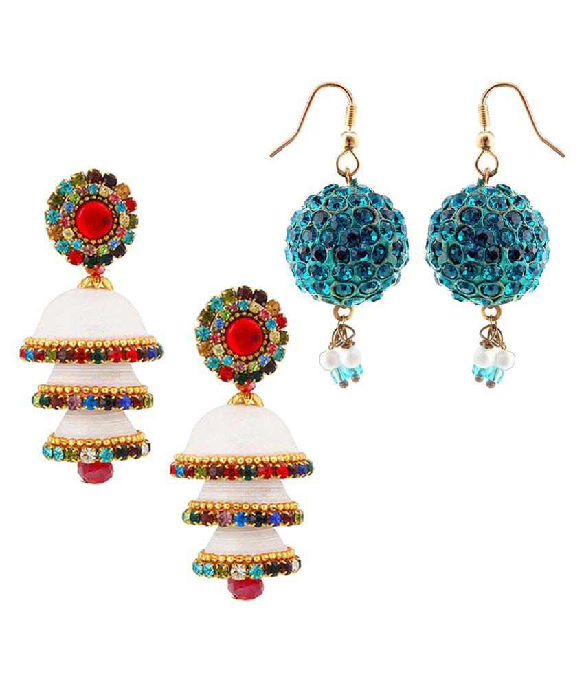Shree Mangalam Mart  Two Handmade Multicolor Jhumki Set