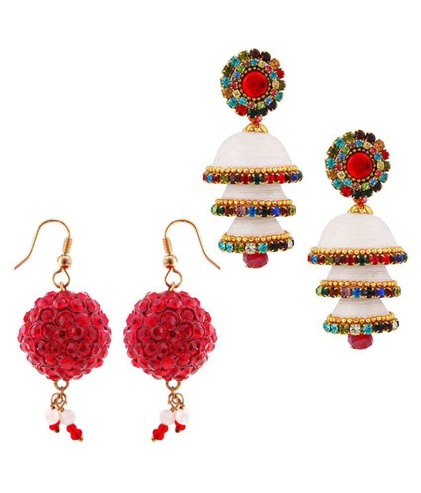 Vivan Creation  Combo of Two Handmade Multicolor Jhumki