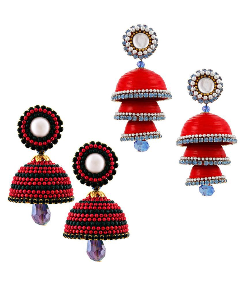 Vivan Creation  Combo of Two Paper Quilling Multicolor Jhumki