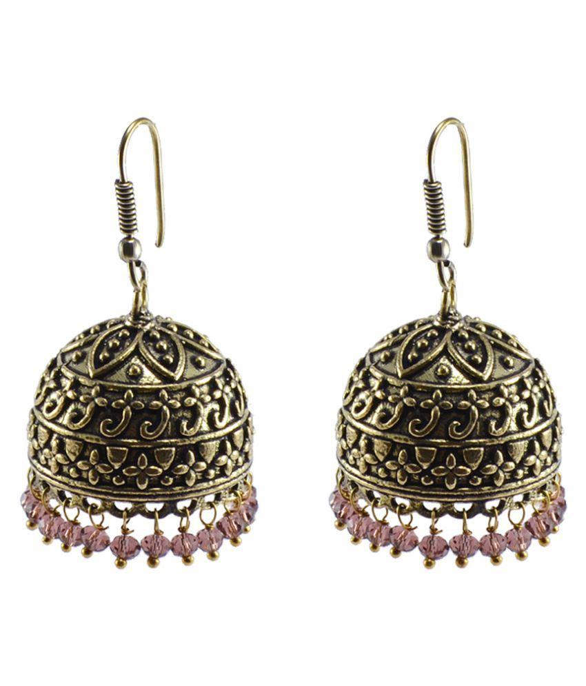 Tribal Jewellery-Alloy Oxidized Handmade Earrings-Amethyst Crystal Beads Ethnic Jhumka-Silvesto India PG-103865