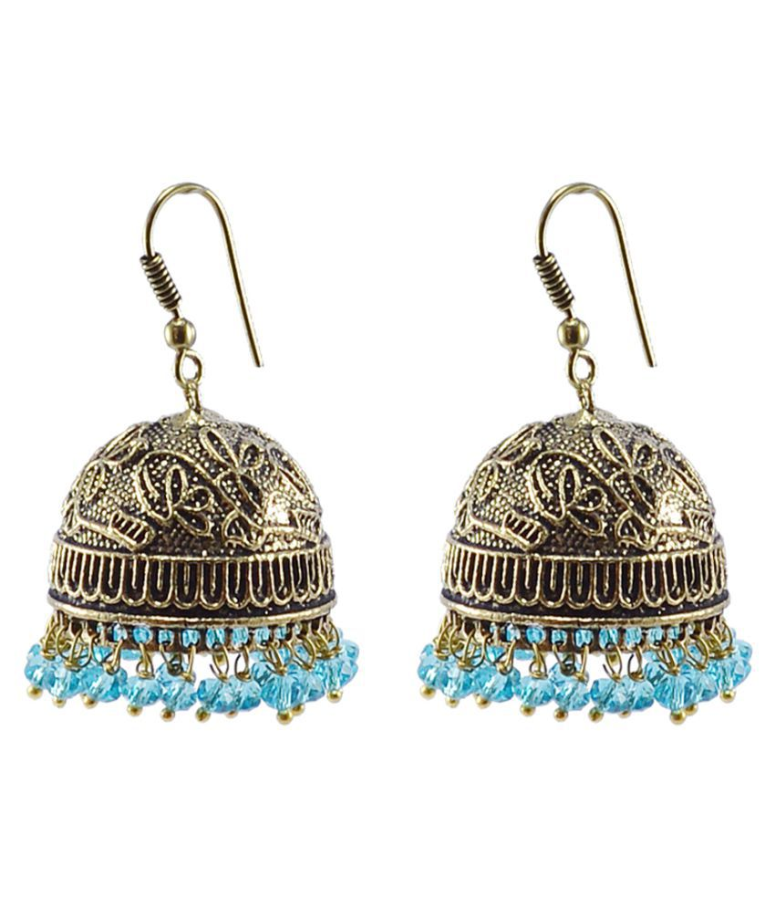 Silvesto India Antiquated Black Metal Jhumki Earrings With Tiny Blue Topaz Crystals PG-104450